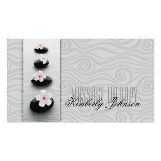 Massage Therapy Grey Curves & Black Stones Card Business Card
