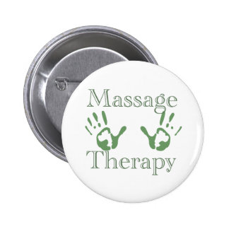 Massage therapy hand prints 2 inch round button