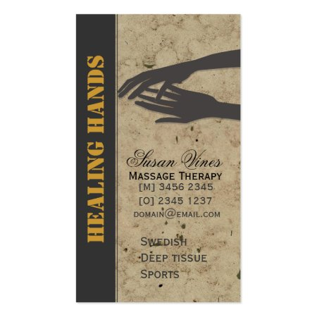 Massage Therapist Black Charcoal Healing Hands Business Cards