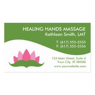Massage Therapy Lotus Flower Business Cards