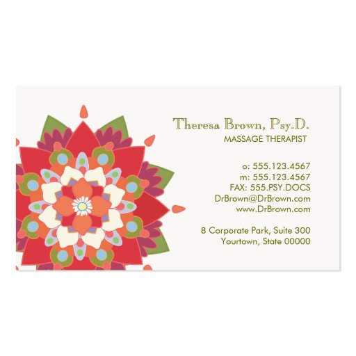 Massage Therapy Red Lotus Appointment Card Business Card Template