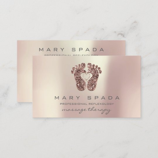 Massage Therapy Reflexology Feet Pink Rose Gold Business Card