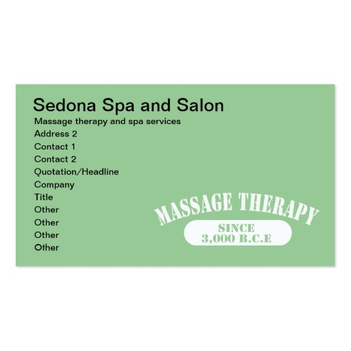 Massage Therapy Since 3 000 B C E Business Cards