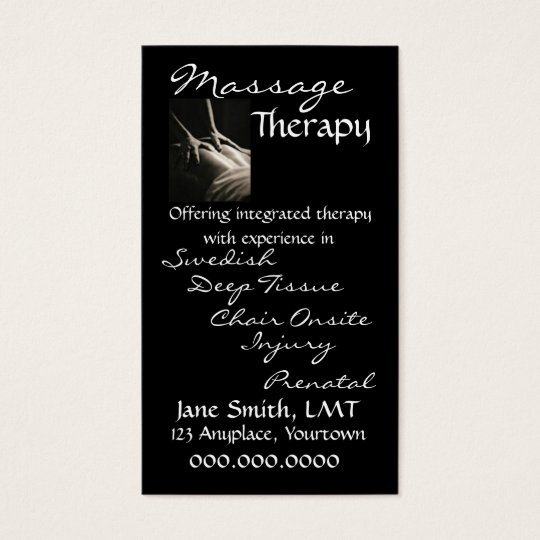 Massage Therapy Sleek Black Business Card | Zazzle.com