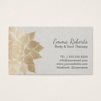 Massage Therapy Spa Gold Floral Vintage Linen Business Card