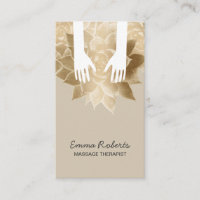 Massage Therapy Spa Healing Hands & Vintage Flower Business Card