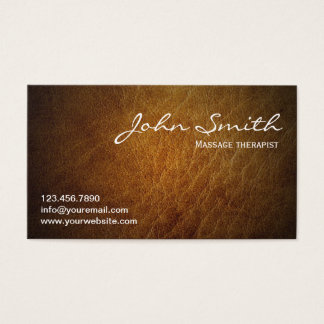 Massage Therapy Vintage Leather Business Card