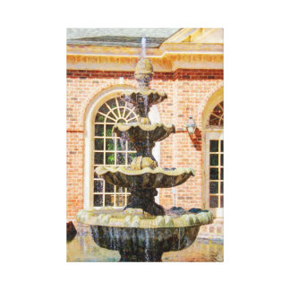 Massee Land Garden Fountain Oil Painting Canvas Print