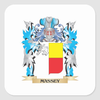 Massey Coat of Arms - Family Crest Square Stickers