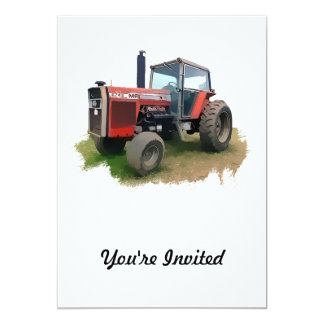 Massey Ferguson Red Tractor in the Field Card