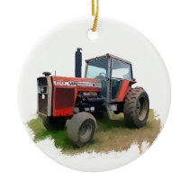 Massey Ferguson Red Tractor in the Field Ceramic Ornament