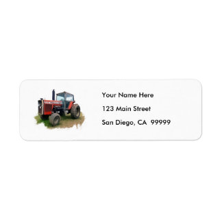 Massey Ferguson Red Tractor in the Field Label