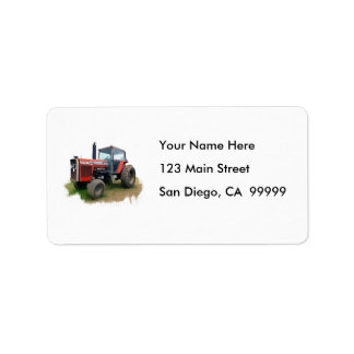 Massey Ferguson Red Tractor in the Field Label