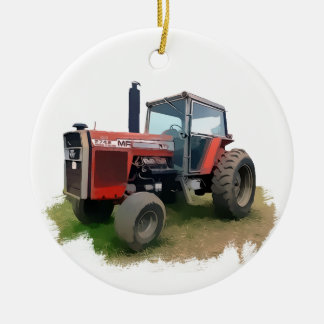 Massey Ferguson Red Tractor in the Field Double-Sided Ceramic Round Christmas Ornament