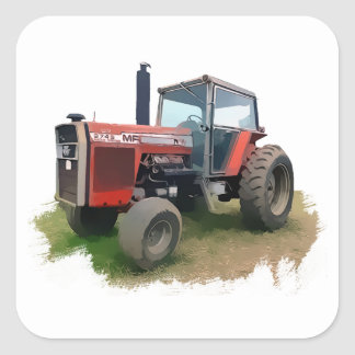 Massey Ferguson Red Tractor in the Field Square Sticker