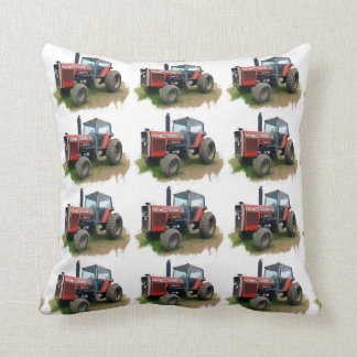 Massey Ferguson Red Tractor in the Field Throw Pillow