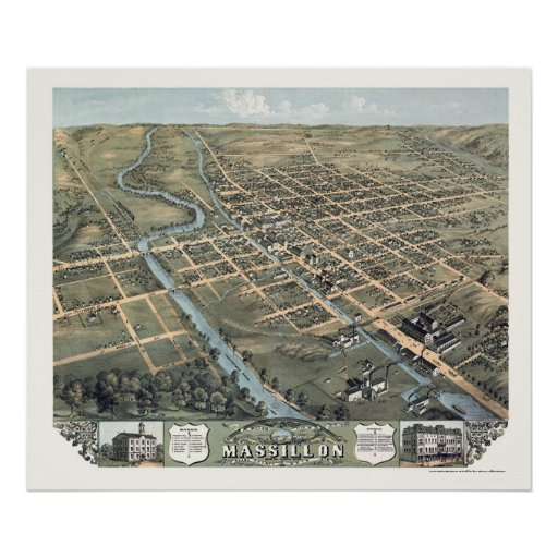 Massillon, OH Panoramic Map - 1870 Print