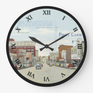Massillon Ohio Post Card Clock - Lincoln Way