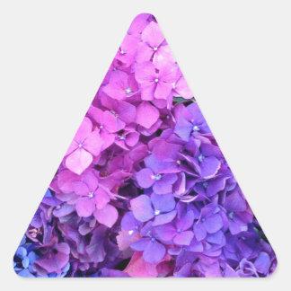 Massive bunch of purple and blue hydrangeas triangle sticker