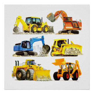 Massive Kids Construction Digger and Excavator Poster