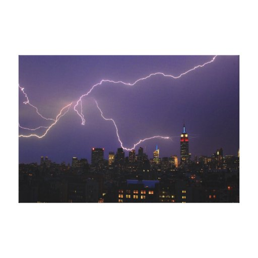 Massive Lightning Strike Over Midtown NYC Skyline Canvas Print