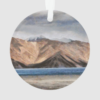 Massive mountains and a beautiful lake ornament