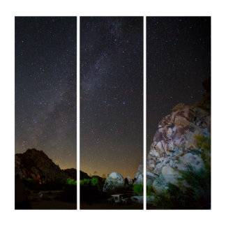 Massive Natural Rock Cosmos View Acrylic Triptych