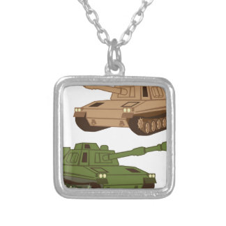 Massive Tank Silver Plated Necklace