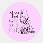 MASTER BAITERS CATCH MORE FISH ROUND STICKERS