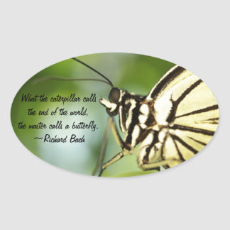 Master Butterfly Photo and quote Oval Sticker