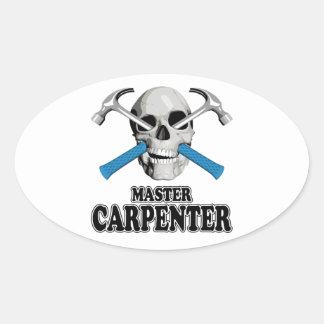 Master Carpenter Skull Oval Sticker