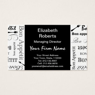 Vintage black white french business cards templates zazzle master chef bon appetit food lover business card reheart Gallery