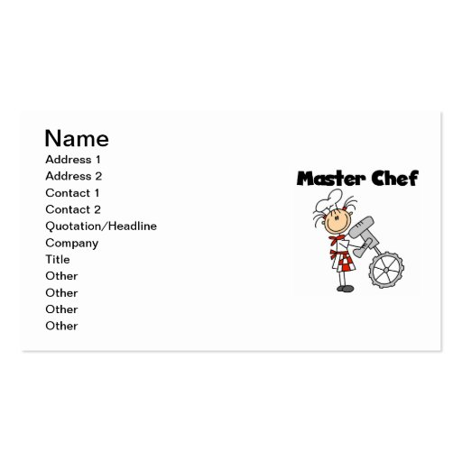Master Chef - Female Business Card