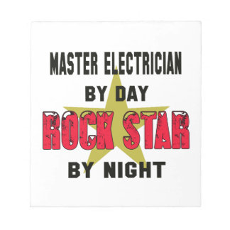 Master Electrician by Day rockstar by night Memo Pads
