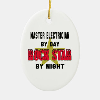 Master Electrician by Day rockstar by night Double-Sided Oval Ceramic Christmas Ornament