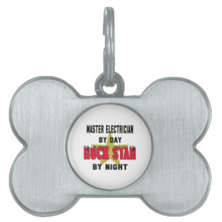 Master Electrician by Day rockstar by night Pet Name Tag