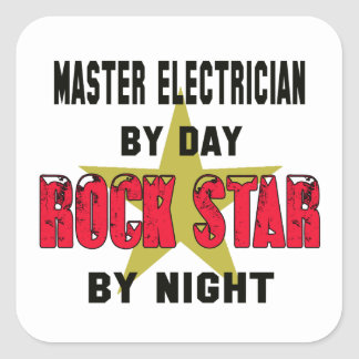 Master Electrician by Day rockstar by night Square Sticker