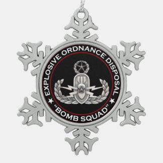 Master EOD Bomb Squad Snowflake Pewter Christmas Ornament