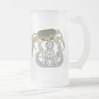 Master EOD Crab Frosted Glass Beer Mug