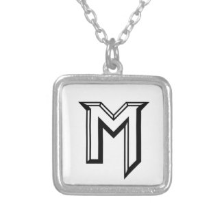 Master M Logo Silver Plated Necklace