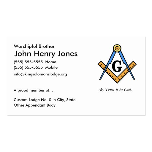 Master Mason Double-Sided Standard Business Cards (Pack Of 100 ...