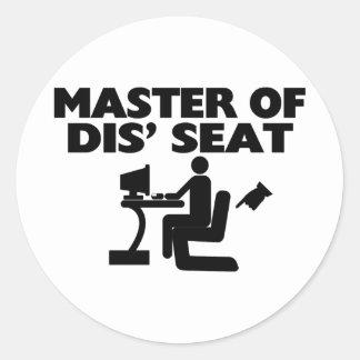 Master Of Dis' Seat Computer Classic Round Sticker