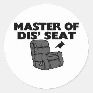 Master Of Dis' Seat Recliner Classic Round Sticker