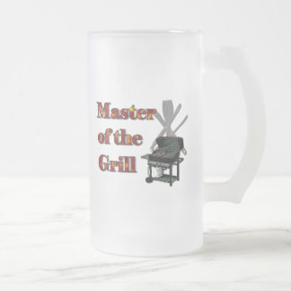 Master of the Grill 16 Oz Frosted Glass Beer Mug