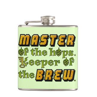 Master of the Hops Homebrew Beer Brewer Pattern Hip Flask