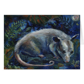 """Master of the Night"", an opossum greeting card"