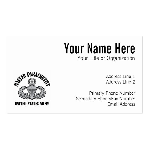 Master Parachutist Badge Double-Sided Standard Business Cards (Pack Of 100)