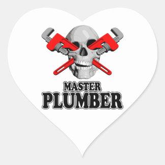 Master Plumbers Skull Heart Sticker