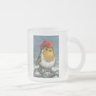 Master robin by the seashore 10 oz frosted glass coffee mug