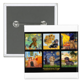 Masterpiece Composite-Dachshunds 2 Inch Square Button